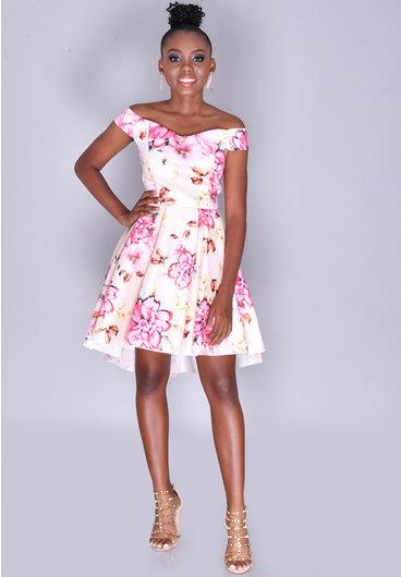 TIFFANY- Petite Floral Off Shoulder Hi-Lo Dress