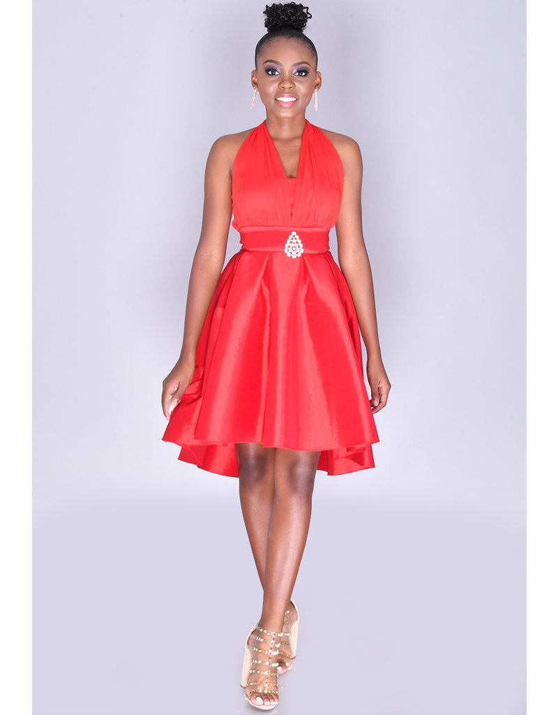 Petite Halter High Low Dress With Taffeta Bottom