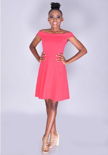 RESHAUNDA- Petite Off-Shoulder Crepe Dress