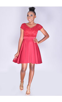 Yabes USHEL- Petite Lace Off-Shoulder Scuba Dress