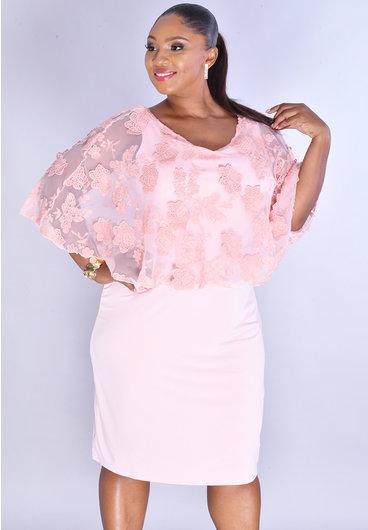JM Studio IPRIA- Mesh Poncho Dress with Applique Flower