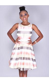 SARA- Fit & Flare Striped Dress