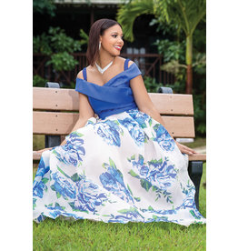 OLIVIA- Floral Stain Off Shoulder Dress