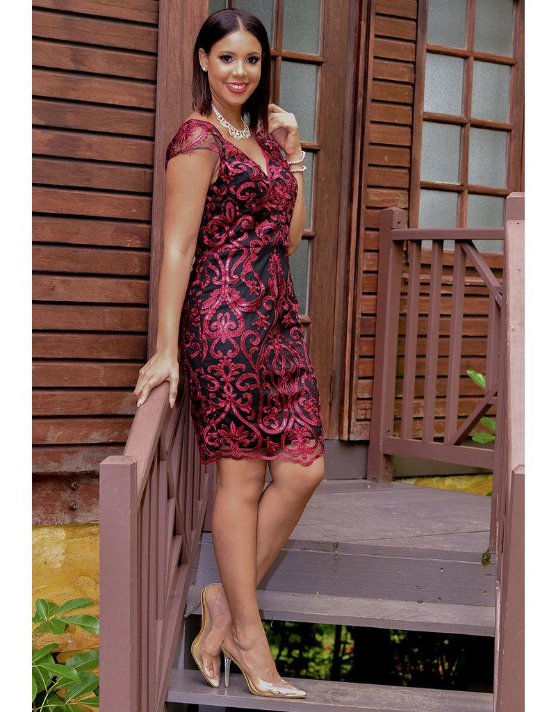 MARILLA-Sleeveless Embroidered Lace Dress