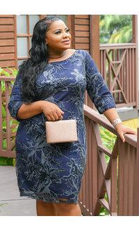 MARIBEL-Floral Lace Sequined Short Sleeve Dress