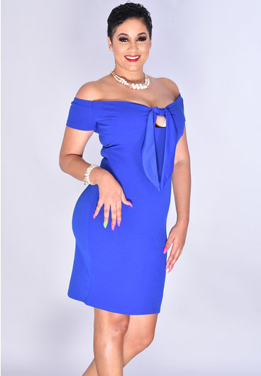 Bebe RAFIKA- Off Shoulder Tie Front Dress