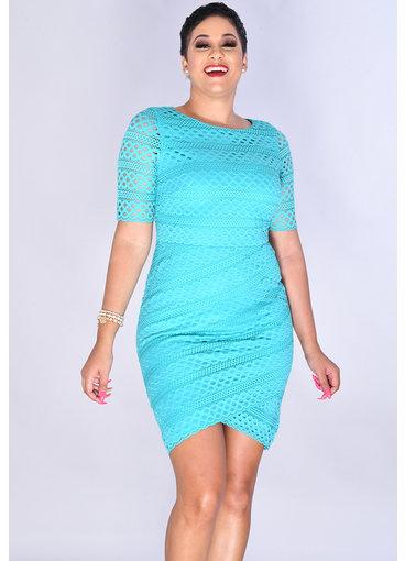 Jessica Howard CADENZA- Eyelets Lap Hem Short Sleeve Dress