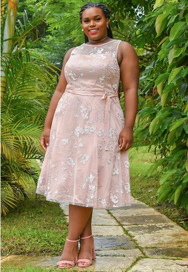 Jessica Howard MARGOSA-Glitter Floral Broad Strap Dress
