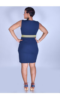 Tash + Sophie RUSHIMA-Round Neck Dress with Zips @ Pocket