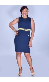 Tash + Sophie RUSHIMA-Round Neck Dress with Zips @ Pocket