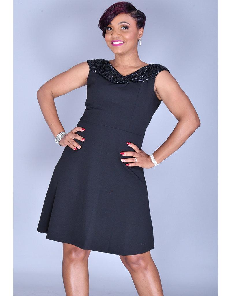 Maia RUHILA- Sequined Cowl Neck Dress