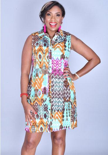 Nina Leonard GENARA-Printed Collar Button Armhole Dress