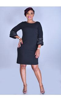 Sandra Darren RUMA-Round Neck 3/4 Sleeve Dress