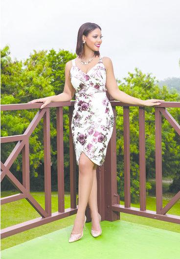 Bebe UDAKA- Foil Floral Faux Wrap Strap Dress