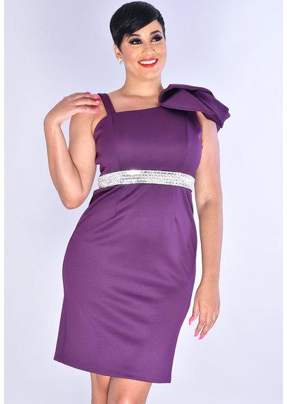 UDERA- Jewel Waist Line 1 Shoulder Dress