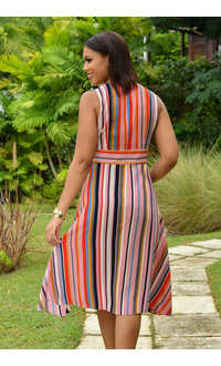 RENUKA- Striped Crossover Fit and Flare Dress
