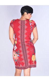 Sandra Darren YARISA- Puff Print  Short Sleeve Keyhole Dress