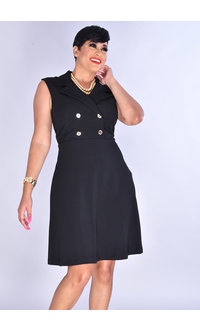 Sandra Darren YADVI- Solid Dress with 4 Buttons at Top