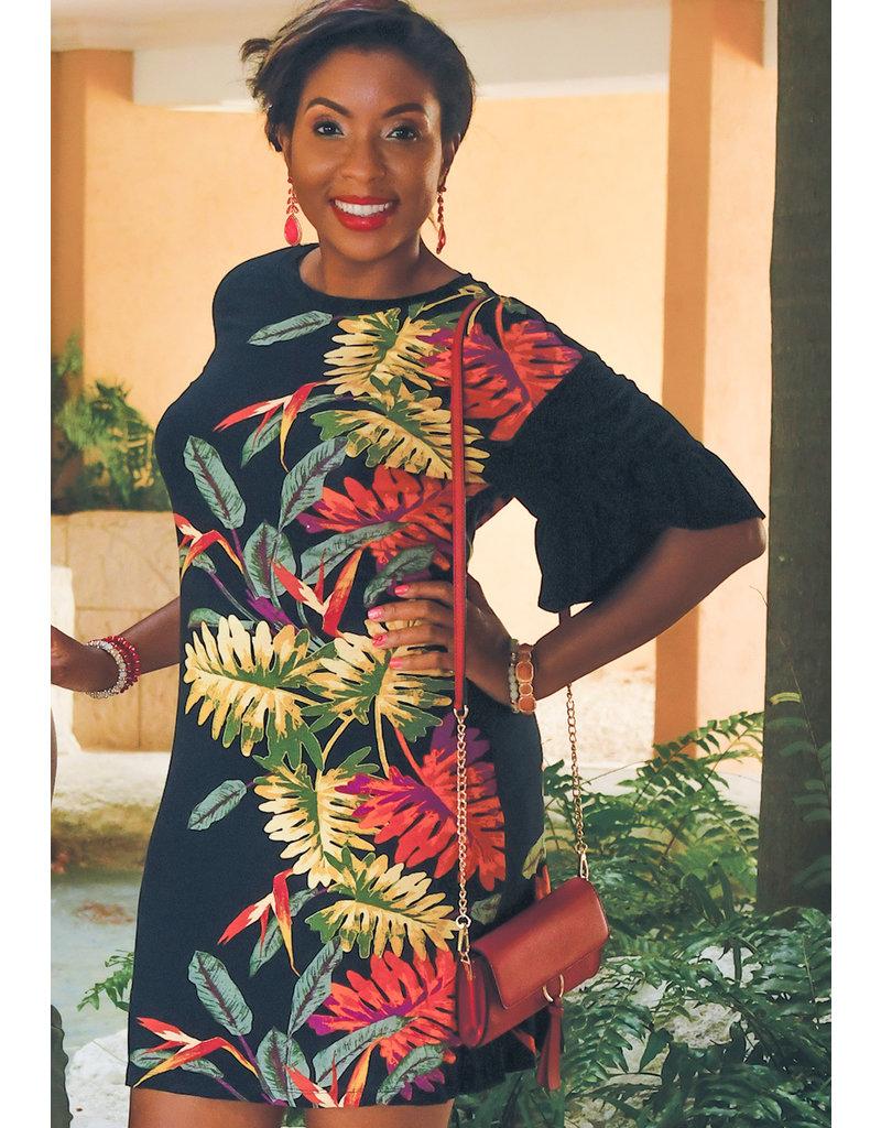 JOAN- Tropical Placement Paint Tulip Sleeve Dress