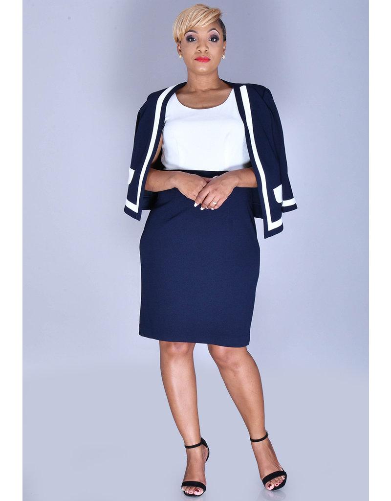 Studio 1 BRIGID- 2 Tone Dress with Contrast Jacket