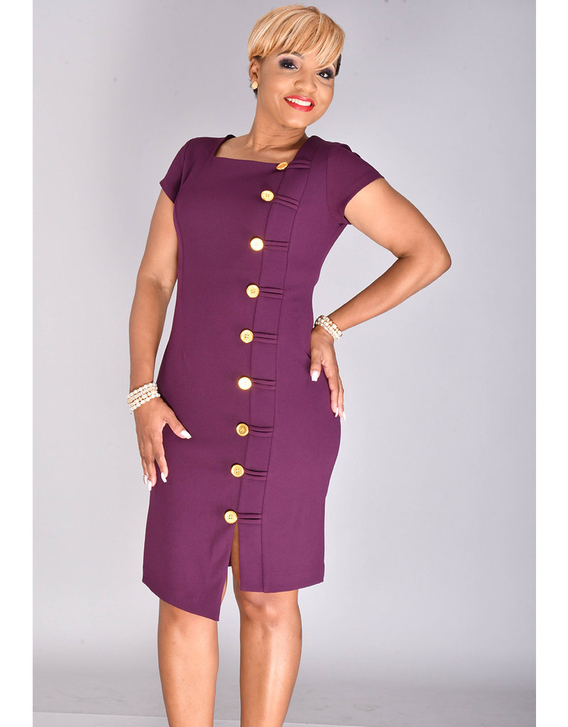 Shelby & Palmer RAGIA- Square Neck Dress with Button at Side
