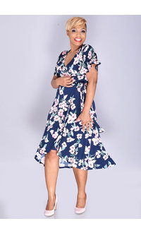 Jessica Howard IDOLINE- Floral Faux Wrap with Bell Sleeves