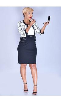 Studio One BRIELLE- Dress with 3/4 Geo Print Jacket