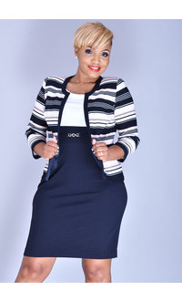 Studio 1 BRENNA- 2 Tone Dress with Stripe 3/4 Sleeve Jacket