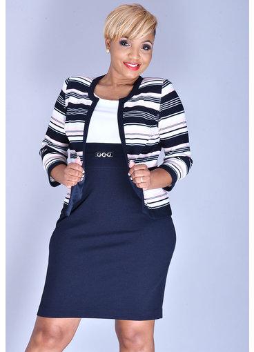 Studio One BRENNA- 2 Tone Dress with Stripe 3/4 Sleeve Jacket