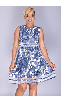 RILLA- Printed Fit and Flare Dress with Sheer Inserts