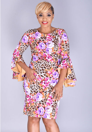 Shelby & Palmer REDA- Printed Dress with Tiered Bell Sleeves