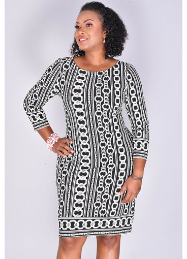 IRIDA- Chain Print 3/4 Sleeve Dress