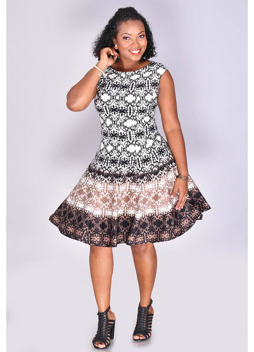 ULVA- Printed Fit and Flare Dress