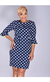 ROMIE- Polka Dot Dress with Contrast Trim