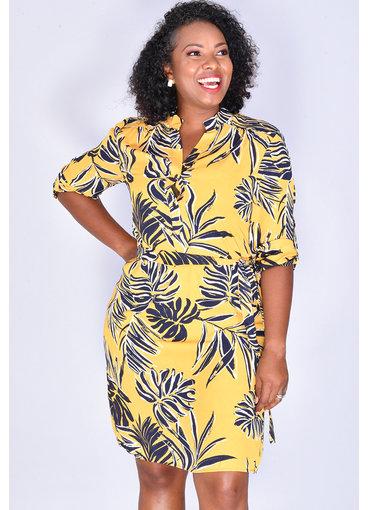 FLEDA- Leaf Print Shirt Dress