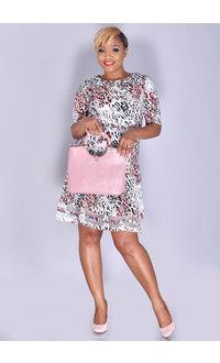 RILLANI- Printed Fit and Flare Dress