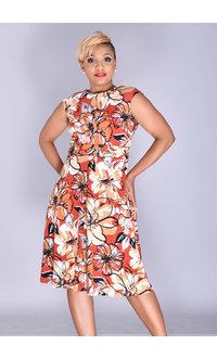 Shelby & Palmer RACANIA- Printed Fit and Flare Dress