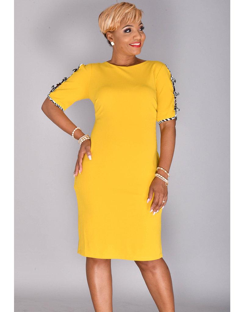 Shelby & Palmer RAJASRA- 3/4 Sleeve Animal Print Trim Dress