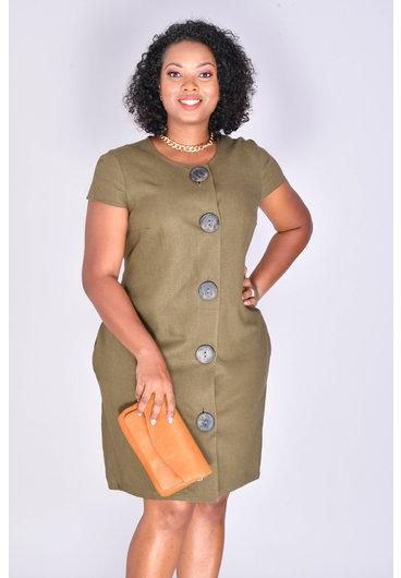 Tash + Sophie NAILA- Short Sleeve Button Down Shirt Dress