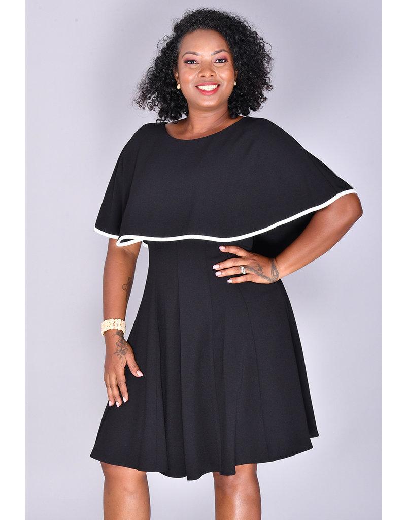 REEM- Contrast Trim Cape Dress