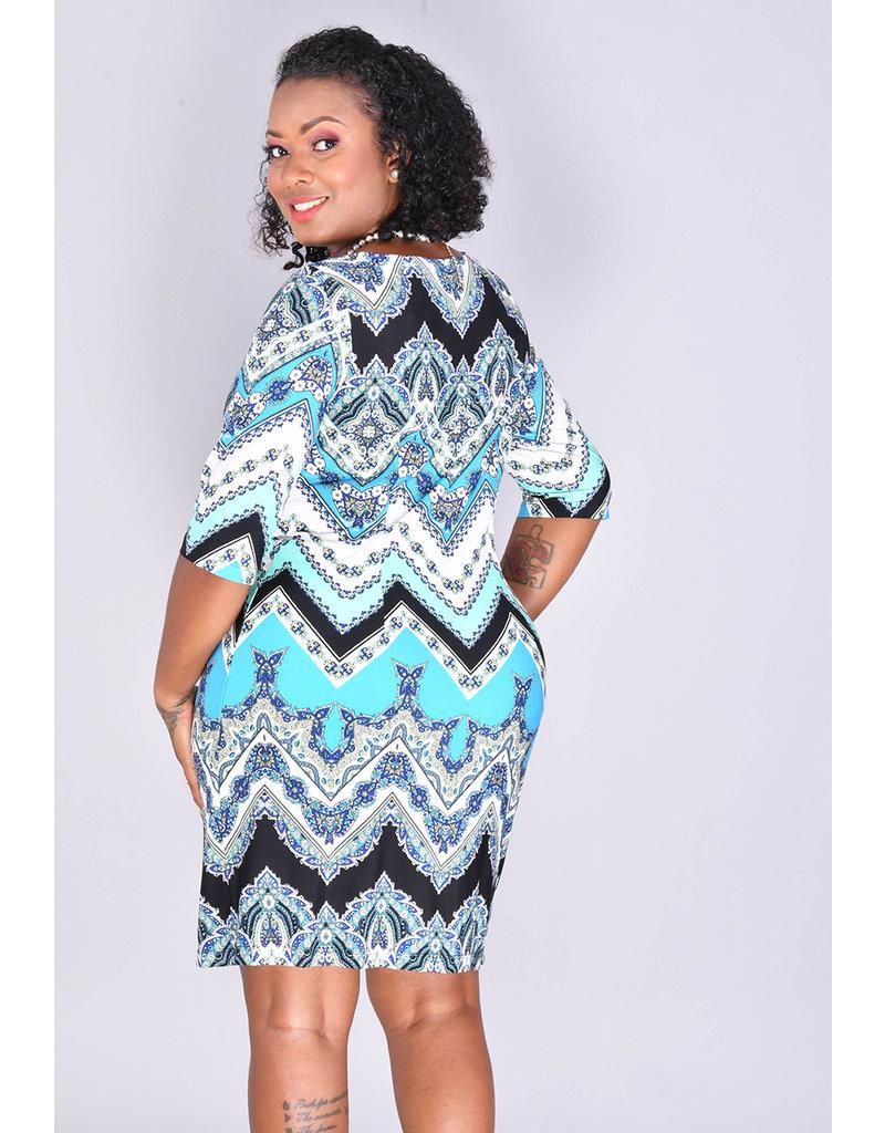 Sandra Darren IRAM- Printed Three Quarter Sleeve Dress