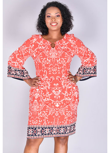 Sandra Darren YUMA-Printed Three Quarter Sleeve Dress