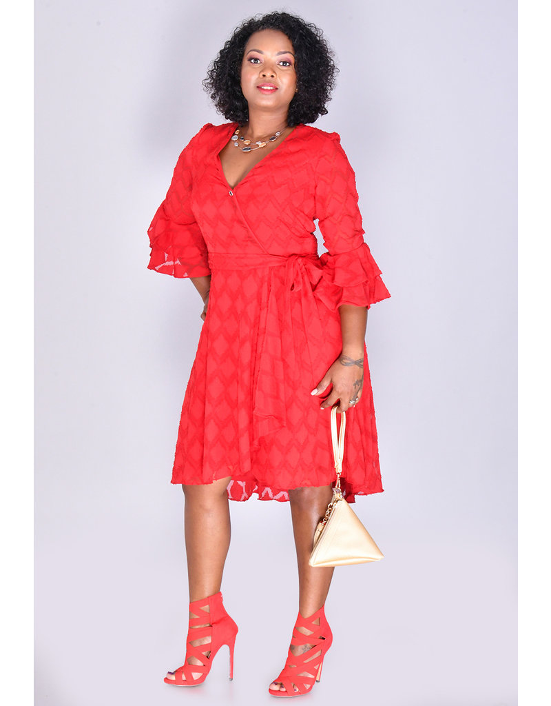 FRANKLIN- Textured Three Quarter Sleeve Dress