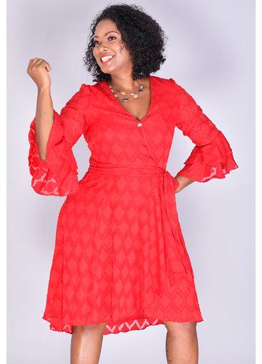 FRANKLIN- Textured Three Quarter Sleeve Dress