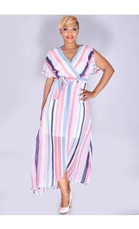 FRANGIA- Stripe Chiffon Maxi Dress
