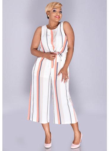 RUNE- Striped Crop Top Jumpsuit