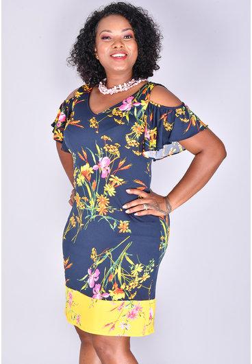 MSK YOGIA- Printed Cold Shoulder Dress