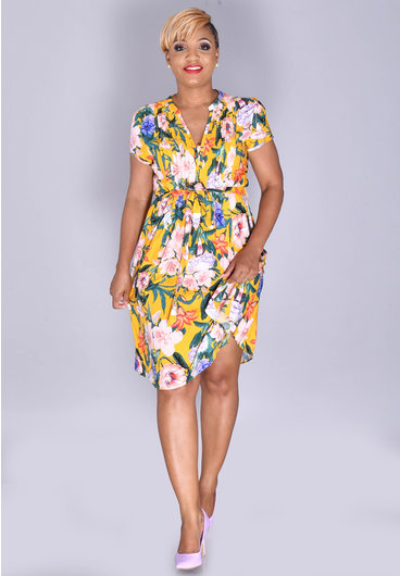 MSK KEVA- Floral Print Shirt Dress