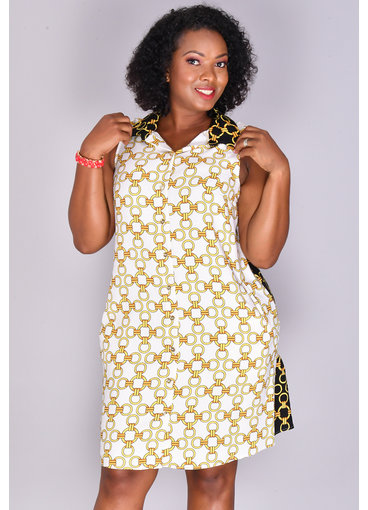 MSK REID- Printed Sleeveless Shirtdress