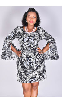 MSK ISHANN- Puff Print Bell Sleeve Dress